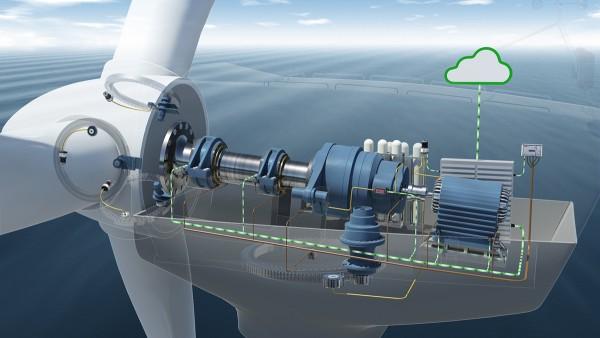 Durum izleme sisteminde, rüzgar türbininin tahrik düzenine monte edilmiş yedi ivmelenme sensörü vardır.